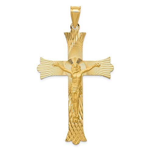 Tone Cross Budded (14k Yellow Gold Crucifix Cross Religious Pendant Charm Necklace Budded Fine Jewelry For Women Gift Set)