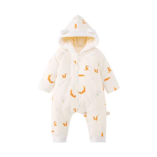 pureborn Baby Boy Girl Hooded Thicken Romper Snowsuit Cartoon Winter Warm Outfit Orange Fox 12-24 -
