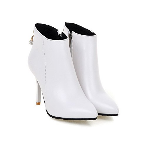 AmoonyFashion Womens Zipper Spikes-Stilettos PU Solid Ankle-High Boots, White, 9.5 B(M) US