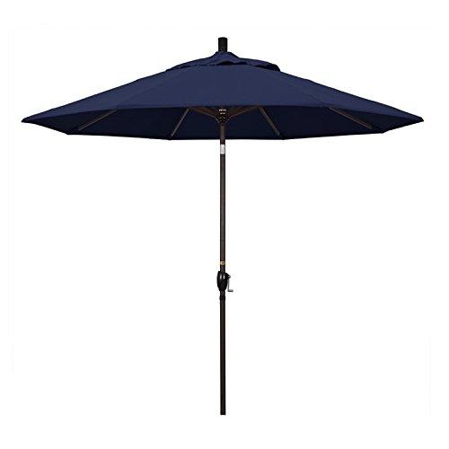 - California Umbrella 9' Round Aluminum Market Umbrella, Crank Lift, Push Button Tilt, White Pole, Navy Blue Olefin