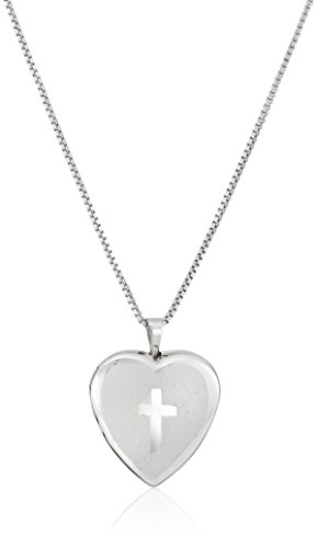 Sterling Silver with Etched Cross Heart Locket Necklace, 18