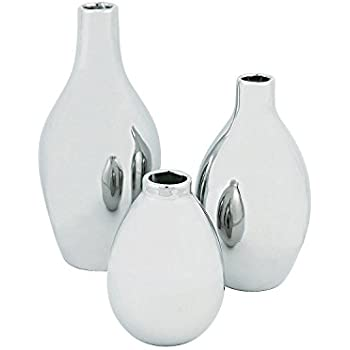 Silver Metallic Vase Set (set of 3 ceramic vases) Home Decor