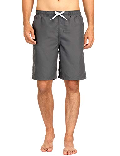 Surfboard Swim Trunks - Men Grey Swimming Shorts Surfboard Shorts Drawstring Swimwear Beach Bathing Shorts