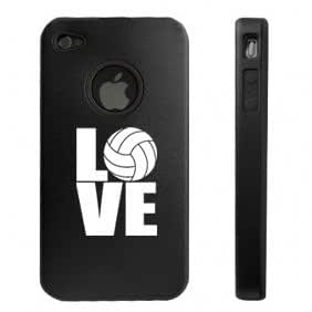 Apple iPhone 4 4S 4 Black D2974 Aluminum & Silicone Case Cover Love Volleyball