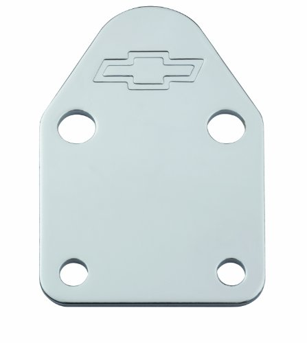 Proform 141-210 Chrome Fuel Pump Block-Off Plate with Embossed Chevy Bowtie Logo for Small Block Chevy