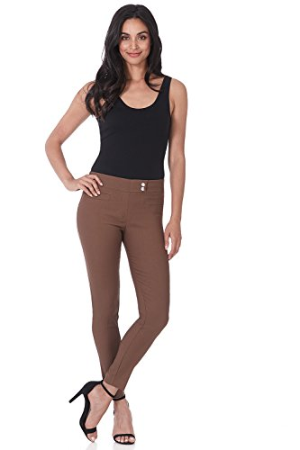 Rekucci Women's Ease in to Comfort Slim Ankle Pant with Snaps (6,Chestnut) ()