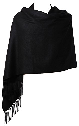 "Womens Pashmina Shawl Wrap Scarf - Ohayomi Solid Color Cashmere Stole Extra Large 78""x28"" (Black)"