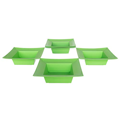 Deep Square Plastic Planter Dish - Flower Container For Wedding, Party, Home and Holiday Decor, Green, 6 Pack ()