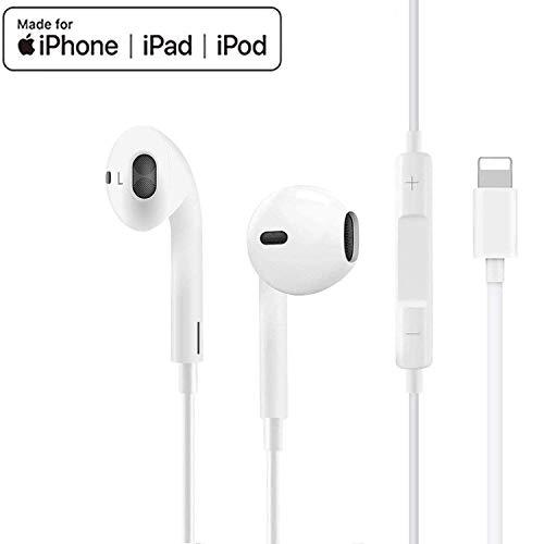 In-Ear Kopfhörer für iPhone 11 HiFi-Audio Stereo Kopfhörer Ohrhörer, mit Mikrofon und Lautstärkeregler, kompatibel mit iPhone7/7Plus/ 8/8Plus/X/XS Max/11/11Pro, unterstützt alle iOS Systeme-Weiß