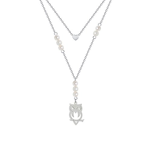 - Heart Owl Pearl Pendant Necklace - Multi Layer Simple Delicate Tiny Sparkling White Pearl birthstone Owl Floating Little Flat Memorial Heart Shaped Lariat Pendant Necklace Jewelry for Girls Women