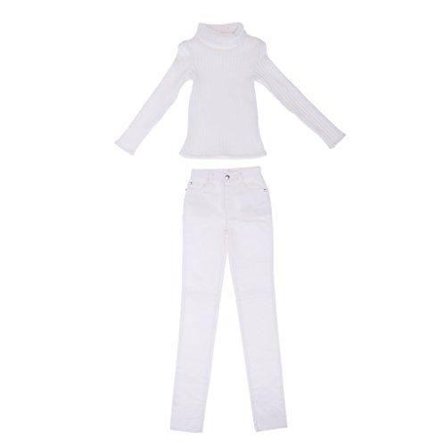 (D DOLITY 1/3 BJD Doll Clothes White Sweater Jeans Set for 70cm Uncle Hound DZ70 DOI)
