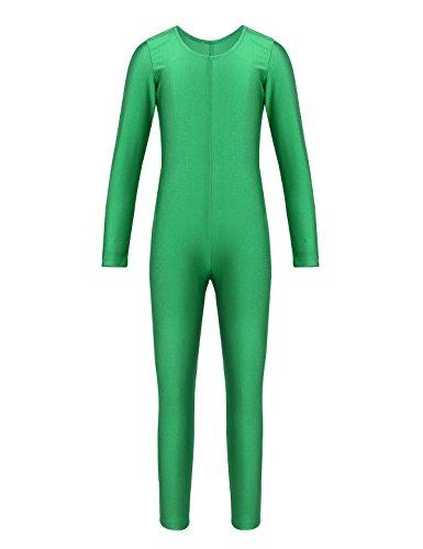YiZYiF Kids Little Girls Boys Spandex Long Sleeve Full Body Unitard Skin Tight Dance Costumes Crew Neck Green 8-10 -