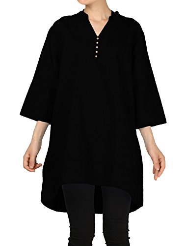 Mordenmiss Women's Cotton Linen Blouse V-Neck Tunic Tops 3/4 Sleeve Shirt Clothing 2XL Black