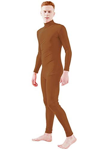 Ensnovo Adult Lycra Spandex Turtleneck Long Sleeve One Piece Unitard Bodysuit Dancewear Brown, L