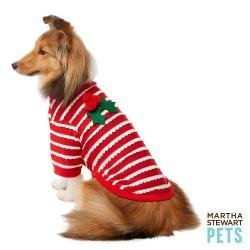 Martha Stewart Pets Holiday Scallop Mistletoe Red Dog Tee~MEDIUM~