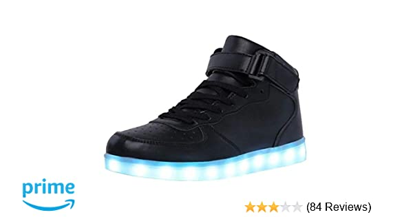 WONZOM FASHION High Top LED Light Up Shoes USB Charging Sneakers for Men  Women 7d5663bd6c