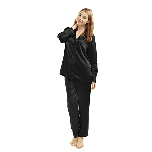 LUXUER Women's Handmade Pure Mulberry Silk Pajama Set Classic Luxury Small Black - Handmade Mulberry