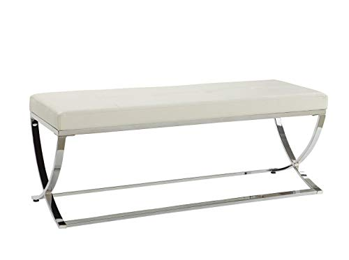 - Man-Made Leather Bench with Metal Base White and Chrome