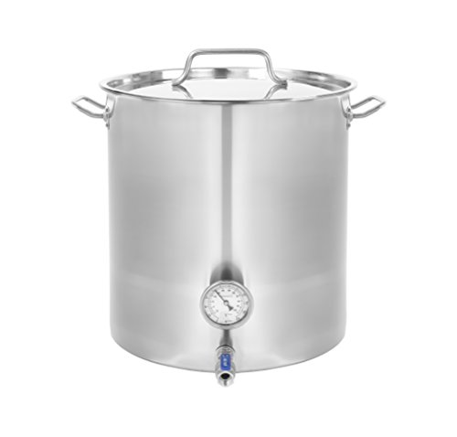 CONCORD Stainless Steel Home Brew Kettle Stock Pot (Weldless Fittings) TRIPLY BOTTOM VERSION (80 QT/ 20 Gal)