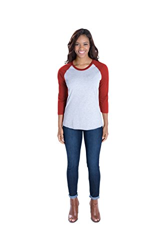 Red Vintage T-shirt (LAT Apparel Ladies 100% Cotton Baseball Jersey Tee [X Small] Vintage Heather/ Vintage Red Short Sleeve)