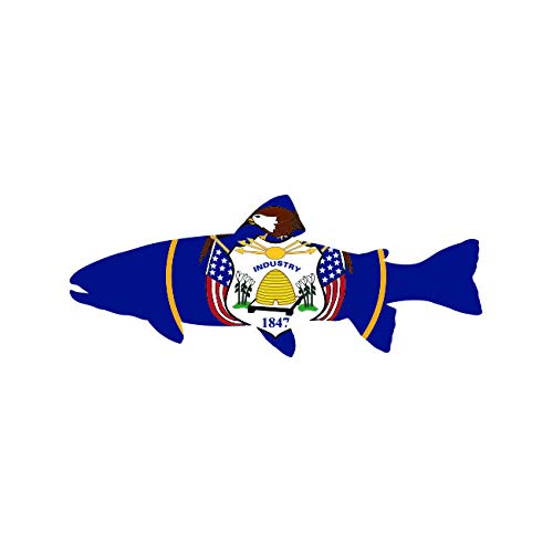 Utah State Shaped Trout Sticker FA Graphix Vinyl Decal UT Fly Fishing Fish - 5.94 Wide