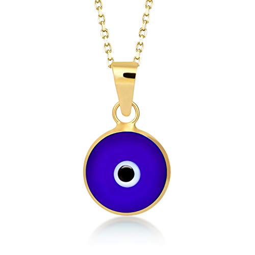 Gelin 14k Solid Gold Dark Blue Evil Eye Protection Charm Pendant Necklace for Women - Certified Fine Jewellery Chain Necklace Gift for Girlfriend, 18 inch ()