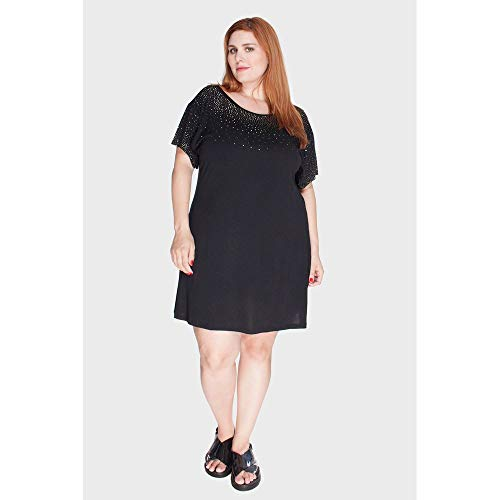 Vestido Com Brilho Plus Size Preto-46