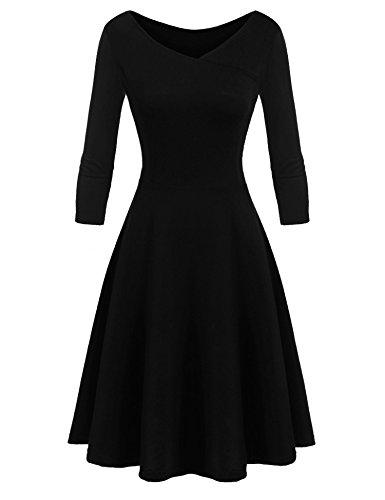 Beyove Ajustement Des Femmes Et Mancherons Robe Fusée Balançoire V-cou Style Robe Midi 3-noir