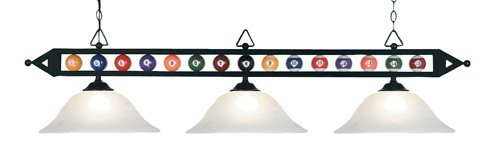 Elk 190-1-Bk-G1 Designer Classics 3-Light Billiard Light, 14-Inch, Matte Black With White Faux Alabaster Glass Shades by Elk
