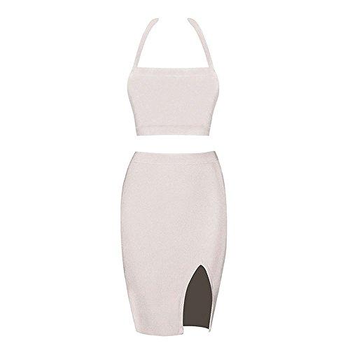 Beige Kunstseide Kleid Ansatz Schlitz Seiten Halter Stück HLBandage 2 Verband qZzOI