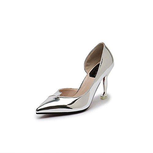 HRCxue Tip, High Heels Argent fine avec côté Air Chaussures de princesse Chaussures pour femme Unique Chaussures 38