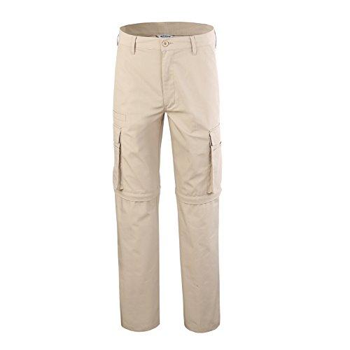 Bienzoe Men's Outdoor Quick Dry Waterproof Convertible Cargo Pants,Khaki 3830