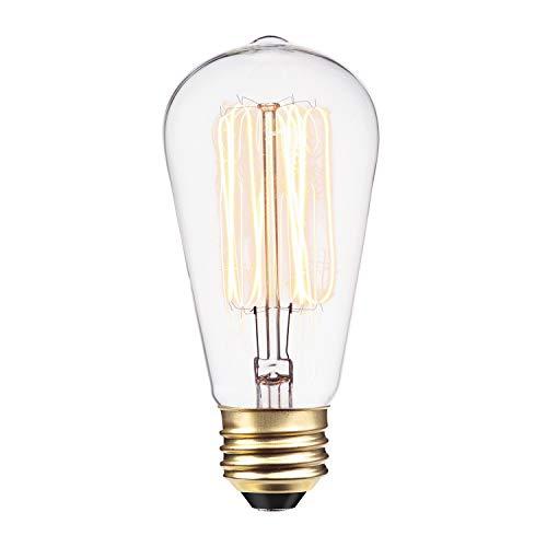 Globe Electric 60W Vintage Edison S60 Squirrel Cage Incandescent Filament Light Bulb, E26 Standard Base, 220 Lumens 01321