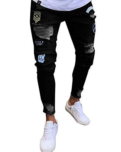Slim Agujero 1895 Fit Pitillo Pantalones Pantalón Pantalones Elasticos Hombres Skinny Vaqueros Casuales Rotos Originales Pqg1X6w