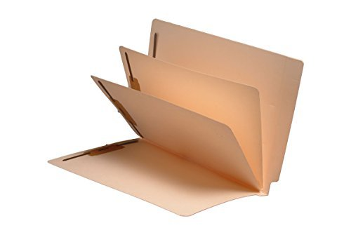 14 Pt. Manila Folders, Full Cut End Tab, Letter Size, 2 Dividers Installed (Box of 25) by Ecom Folders
