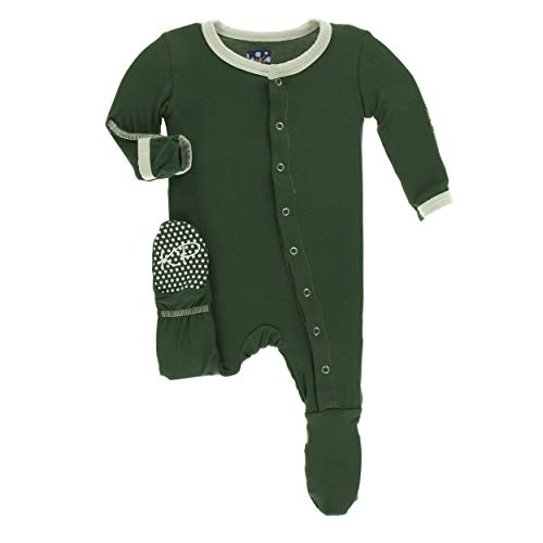 Kickee Pants Little Boys Solid Footie with Snaps - Topiary with Aloe, 18-24 ()