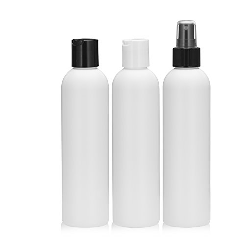 - 6pcs Empty White HDPE Bottle 8oz - Bullet Round Plastic Bottles - 24/410 Neck Assorted Caps 2ea - 24mm Foil Pressure Seal for Freshness and Leak Prevention - Phthalate Free Approved for Safe Cosmetics