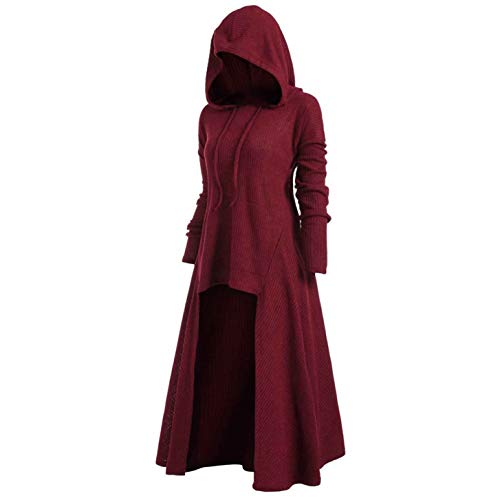 TIFENNY Womens Fashion Hooded Plus Size Vintage Cloak Coat High Low Sweater Long Sleeve Tops Dress Outcoat Red