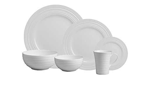 Mikasa Swirl White 36-pc Bone China Dinnerware Set, Service for 6