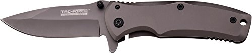 TF-848-MC Tac Force TF-848 Spring Assist Folding Knife, Grey Titanium Straight Edge Blade, Grey Handle, 3.5