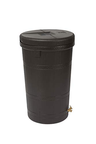 Good Ideas RW-ASPEN50-OAK Wizard Aspen 50 Gallon Saver-Oak Rain Barrel, - Barrel Rain Round