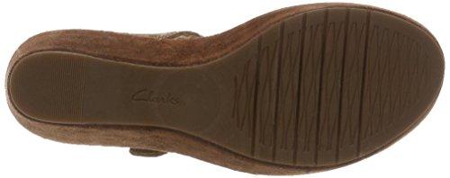 Clarks Women's Aisley Orchid Wedge Heels Sandals Brown (Dark Tan Suede) jggFlFxa