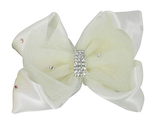 Ivory Satin Rhinestone & Tulle Hair Bow Clip, Flower Girl HairBow, Wedding, First Communion