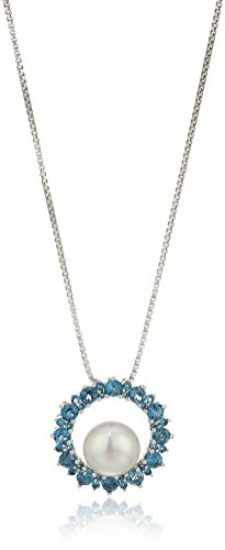Sterling Silver Freshwater Cultured Pearl and Blue Topaz Circle Pendant Necklace, 18