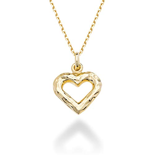 MiaBella 925 Sterling Silver Italian Heart Charm Pendant Necklace Jewelry for Women Teen Girls, Choice of White or 18K Yellow Gold Over Silver, 18