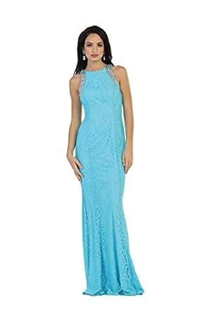 US Fairytailes Sleeveless Rhinestone Lace Dress #1475 (6, Turquoise)
