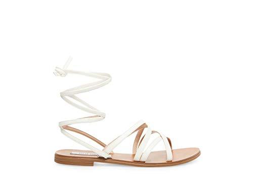 Steve Madden Women's Carmen Flat Sandal, White Leather, 6.5 M US