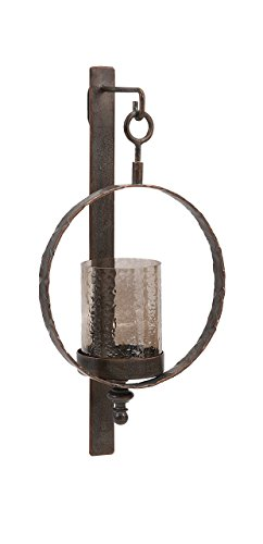 (IMAX 20274 Circle Wall Sconce - Candle Holder for Home, Hotel, Reception Areas. Metal Wall Candle Sconce with Crackled Glass Hurricane. Decor Accessories)