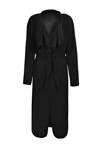 Largos Cinturón Simple Sólido Manga Mujer Invierno Solapa Con De Elegantes De Larga Abrigos Rompevientos Trench Chaquetas Coat Color Negro Otoño Gabardina Moda f6AETnqw