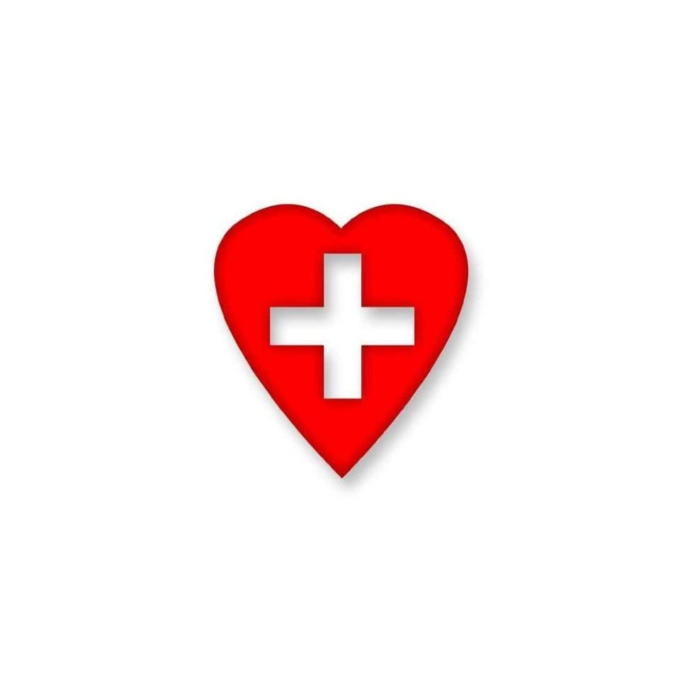 MEDICAL ALERT CROSS HEART 3.5 (color REFLECTIVE RED) Vinyl Decal Window Sticker for Cars, Trucks, Windows, Walls, Laptops, and other stuff.